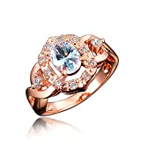 BLOOMCHARM 'My Soul' 18K Rose Gold Plated Cubic Zirconia Engagement Wedding Ring, Gifts for Women Girls (Clear White, 7)