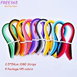 FREE365 Quilling Paper Set 0.5 width 54 Length 1080 Pieces Quilling Art Strips