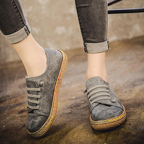 Elevin(TM) 2017Women Winter Fashion Suede Leather Lace-up Boots Soft Flat Ankle Single Shoes - stylishcombatboots.com