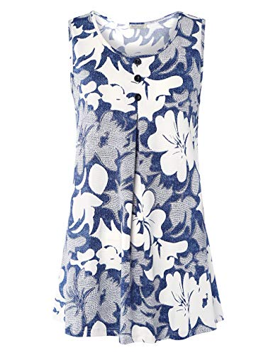 BAISHENGGT Sleeveless Blouse, Womens Flowy Crepe Cool Soft Button Crew Neck Pleated Drape Tank Top Shirt L Blue Floral-6