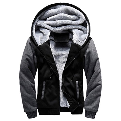 (Men Jacket, Gillberry Men Winter Warm Fleece Hood Zipper Sweater Jacket Outwear Coat (Black, (US)L=Asian XXL))