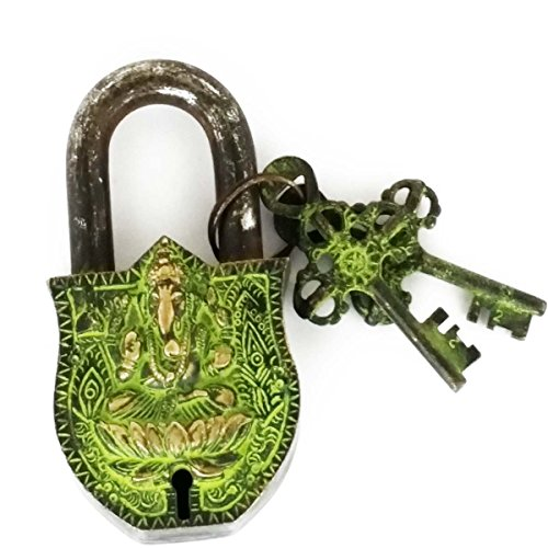 Solid Brass Natural (Decorative Padlock Buddha Monastery Lock Large - Solid Brass with Natural Patina in a Beautifully Ornate Padlock - Ornamental Antique Handcrafted Locks for Security and Style)