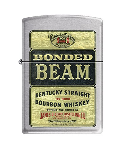(Zippo Jim Beam Bonded Beam Brushed Chrome Pocket Lighter)