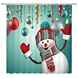 "VANCAR Waterproof Bathroom Decor Custom Xmas Merry Christmas Shower Curtain Sets with Hooks 66""X72"" 3D Snowman Christmas Ornaments Ball Green Pattern Print"