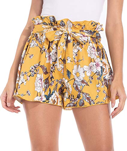 Brovollous Summer Beach Shorts for Women Casual Bow Tie Yellow Flower Print Elastic Waist Vacation Hot Pants