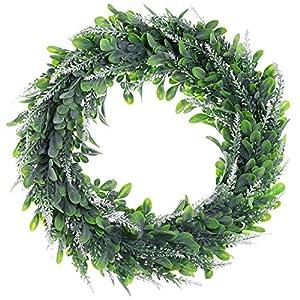 "Lavender EucalyptusWreath,15"" Artificial Lavender Wreaths Flocked Lavender Door Wreath Hang Window Decoration Romantic Fresh Style Wedding Decoration 1"
