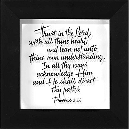 Trust In The Lord Calligraphy Glass 6 x 6 Wood Framed Wall Sign - Glass Framed Plaque