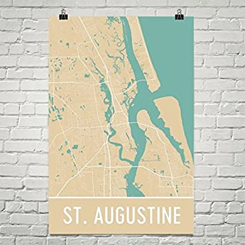 Map Of St Augustine Florida.Amazon Com St Augustine Poster St Augustine Art Print St