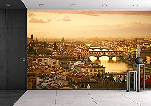 wall26 - Sunset View of Bridge Ponte Vecchio. Florence, Italy - Removable Wall Mural | Self-adhesive Large Wallpaper - 66x96 (Tuscany Mural)