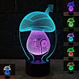 MUEQU 3D LED Optical Illusion Lamps Night Light, 7 Changing Colors Lighting Touch Control 3D Table Lamp with Acrylic Flat for Creative Home Decoration and Gifts (Mushroom House)