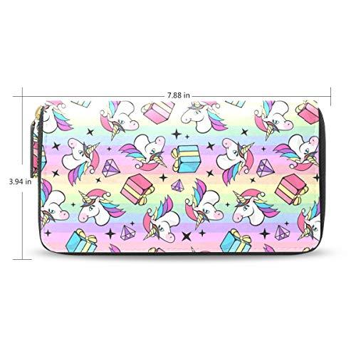 Women LeatherFantastic Unicorn Wallet Large Capacity Zipper Travel Wristlet Bags Clutch Cellphone Bag