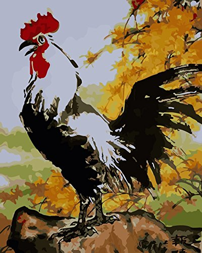 Wowdecor Paint by Numbers Kits for Adults Kids, Number Painting - Big Rooster 16x20 inch (Framed)