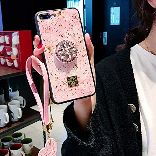 Tianyuanxuan iPhone XR Case,iPhone xr Case,Fashion Epoxy Diamond Stand Set with Pink Love Fringe Hand Strap Mobile Phone Case for iPhone xr 6.1-inch