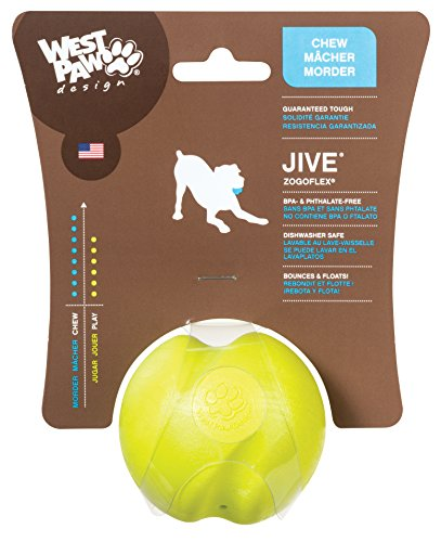 West Paw Zogoflex Jive Durable Nearly Indestructible Dog Ball Chew-Fetch-Play Dog Toy, 100% Guaranteed Tough, It Floats!, Made in USA, Small 2.6-Inch, Granny Smith