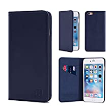 Apple iPhone 6 6S Leather Wallet Case Designed by 32nd, Classic Real Leather Design With Card Slot, Magnetic Closure and Built In Stand - Navy Blue