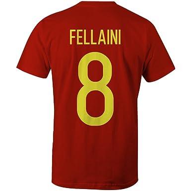84075f5eae1 Marouane Fellaini 8 Belgium International Football T-Shirt Red Yellow   Amazon.co.uk  Clothing