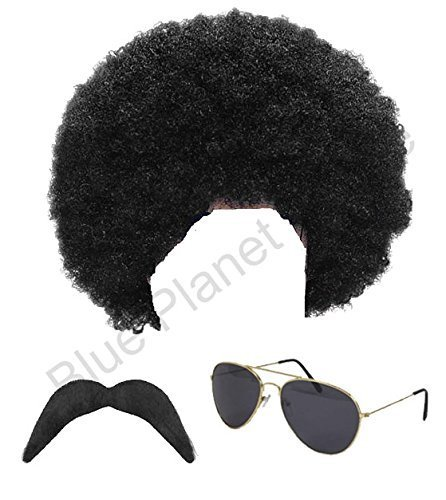 80s Scouser Costume (1980s 80s Scouser Black Afro Wig, Moustache and Aviator Sunglasses Fancy Dress by Blue Planet Online)