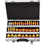 Toolscentre TC-35A Premium 35 Pieces Router Bit Set 8mm Shank with A Professional Suit Case