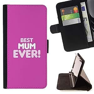 For Apple iPhone 5C Case , La mejor mamá mamá Ever Madre Madres- la tarjeta de Crédito Slots PU Funda de cuero Monedero caso cubierta de piel
