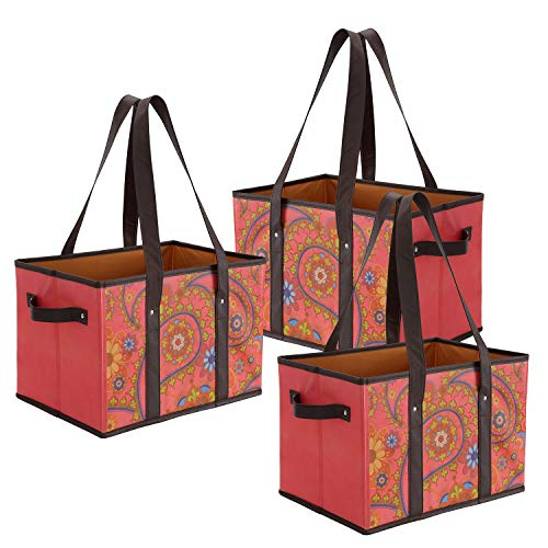 Foraineam Reusable Grocery Bags Durable Heavy Duty Grocery Totes Bag Collapsible Grocery Shopping Box Bags with Reinforced Bottom, Pack of 3 ()