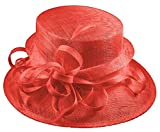 Elegance Collection Sinamay Loops Wedding Hat in Coral, Size: Medium
