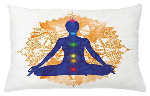 Lunarable Chakra Throw Pillow Cushion Cover, Silhouette of a Body in Yoga Lotus Position with Chakra Meditation Yoga Pattern, Decorative Accent Pillow Case, 26 W X 16 L inches, Blue Orange by Lunarable