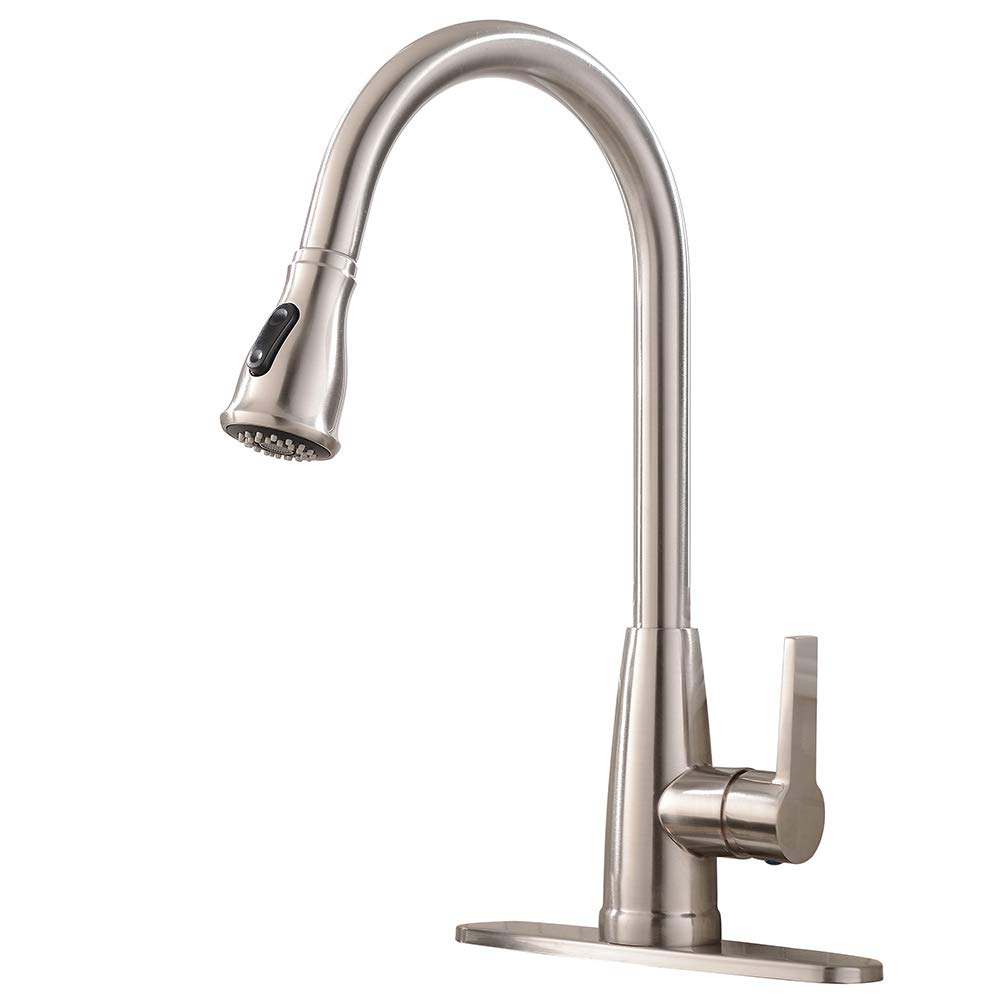 Friho Modern Commercial Lead-Free Stainless Steel Single Lever Handle High Arc Pull Down Sprayer Kitchen Sink Faucet,Brushed Nickel Pull Out Kitchen Faucets With Deck Plate by Friho