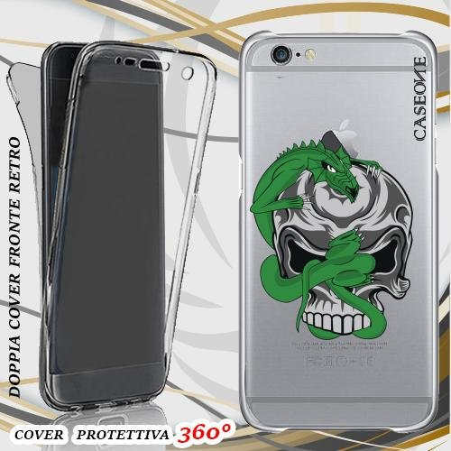 CUSTODIA COVER CASE DRAGO INTRECCIO TESCHIO PER IPHONE 6 PLUS FRONT BACK TRASPARENTE