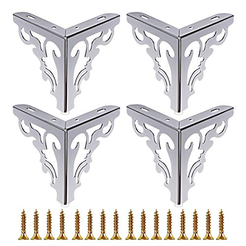 TLBTEK 15CM Metal Furniture Legs Feet Set of 4, inch Height Hollow Out Modern Sofa Cabinet Legs for Replacement of Table,Dresser, Wardrobe, Worktop,Sofa,Cupboard and Bookcase Leg with Mounting Screws (Metal Modern Furniture)