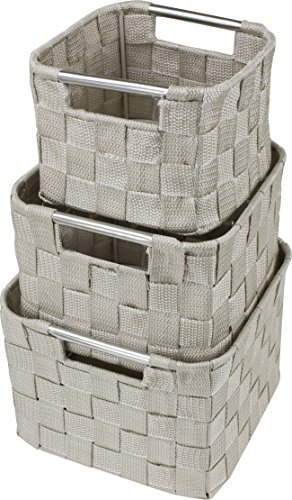 Sorbus Storage Box Woven Basket Bin Container Tote Cube Organizer Set Stackable Storage Basket Woven Strap Shelf Organizer Built-In Carry Handles (Square Round Woven Basket Set - 3 Piece, Beige)