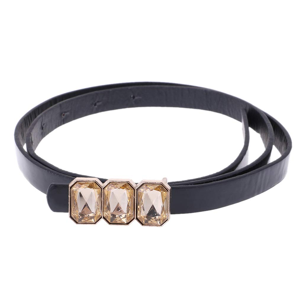 Simdoc Faux Leather Waist Belt With Metal Crystal Buckle,Fashion Womens Belts For Jeans Dress Trousers Decoration