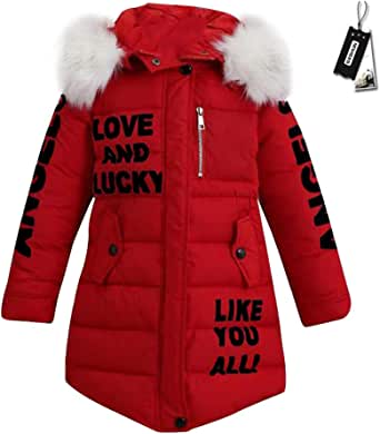 SXSHUN Niñas Abrigo Acolchado de Invierno con Capucha de Pelo Chaqueta Caliente de Algodón con Estampado de Letras