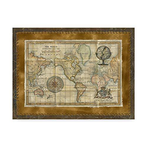 (Trademark Fine Art Antique World Map Framed by Vision Studio, 35x47-Inch,)