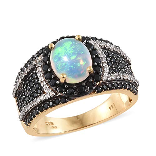 Opal Black Spinel Cluster Ring 925 Sterling Silver Vermeil Yellow Gold Gift Jewelry for Women Size 8