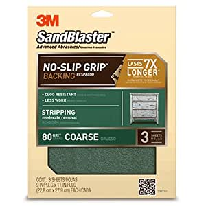 3M SandBlaster Paint Stripping Sandpaper Sheets, 80-Grit, 9-Inch by 11-Inch