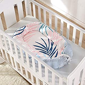 KINBEDY Soft Organic Cotton Baby Lounger Perfect Co-Sleeping Bassinet Breathable & Hypoallergenic Portable Newborn Crib – Suitable from 0-24 Months, Light Blue
