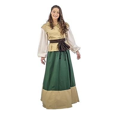 Elbenwald Traje Medieval para el cinturón de Roca Mujer Juana cáscara Verde Amarillento 3tlg