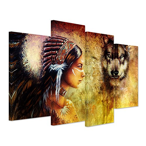 Hello Artwork Abstract Canvas Print Indian Woman with Feather Headdress Wall Art Painting Pictures Print On Canvas Vintage Nude Sexy Wolf Head For Living Room Decor