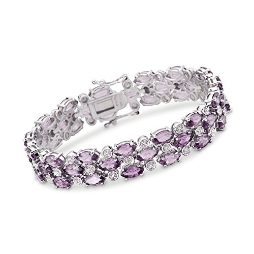 Ross-Simons 20.00 ct. t.w. Amethyst Bracelet With Diamond Accents in Sterling Silver -