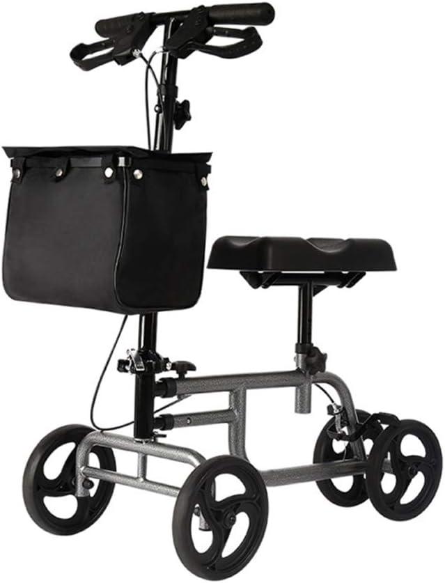 Andador de rodilla - Scooter orientable para lesiones de piernas, pies y tobillos rotos - Carro de cuatro ruedas con rodillas - Almohadilla de asiento ortopédica para movilidad médica de