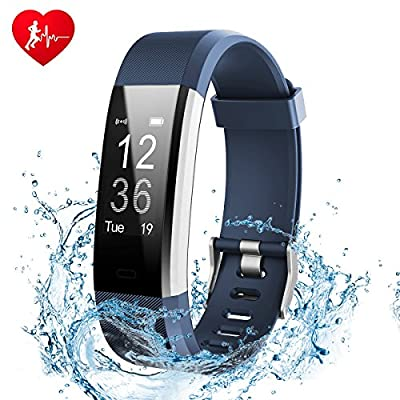 Fitness Tracker Watch, Ginsy Activity Tracker with Heart Rate Monitor Waterproof Bluetooth Pedometer Wristband Sleep Monitor Smart Watch for IOS Android Smart Phone