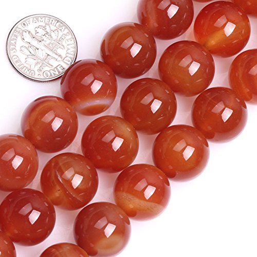 14mm Round Bead Strand - GEM-inside Red Agate Carnelian Gemstone Stone Crystal Quartz Loose Beads 14mm Round Natural Stone Agate Beads For Jewelry Making Beads Strand 26-28 Pcs At 15 Inches