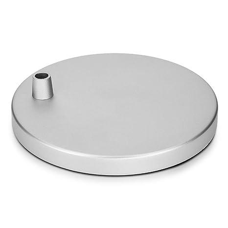Navaris soporte de lámpara plano para mesa - Base antideslizante circular compatible con lámparas de Navaris - Pie de flexo de aluminio plateado