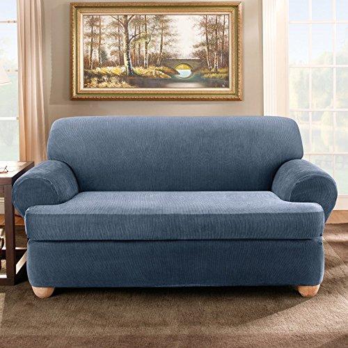 Sure Fit Stretch Stripe 2-Piece - Loveseat Slipcover  - Sand (SF37728) - Sand Microfiber Sofa