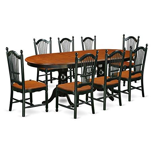East West Furniture PLDO9-BCH-W Dining Set, 9 Pieces, Black/Cherry ()