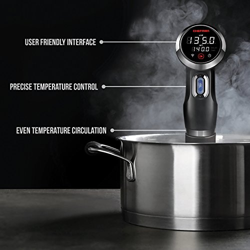 Chefman Sous Vide Precision Cooker - WiFi and Bluetooth Enabled w/Digital Display & Accurate Temperature/Time Control, Thermal Immersion Circulator, Black