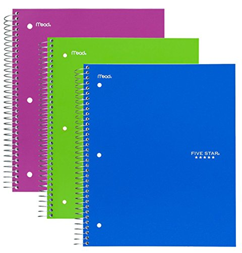 Five Star Spiral Notebook, 1 Subject, 100 College Ruled Sheets, Assorted Colo...