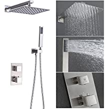 HIMK Shower System with High Pressure Rainfall Shower Head, Handheld Shower head and Shower Faucet valve,Bathroom Luxury Rain Thermostatic Shower Combo Set Wall Mounted,Brushed Nickel