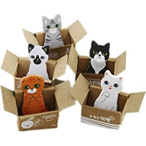 Cosanter 5PCS cartoon cute caja de papel gatos y gatos notas pequeñas notas adhesivas stick notas