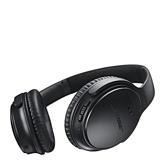 Bose QuietComfort 35 (Series I) Wireless Headphones, Noise Cancelling - Black 4 <p>QuietComfort 35 Wireless Headphones. QuietComfort 35 wireless headphones are engineered with world-class noise cancellation that makes quiet sound quieter and music sound better. Free yourself from wires and connect easily to your devices with Bluetooth and NFC pairing. Volume-optimized EQ gives you balanced audio performance at any volume, while a noise-rejecting dual microphone provides clear calls, even in windy or noisy environments. Voice prompts and intuitive controls make communicating and controlling your music hassle-free. And a lithium-ion battery gives you up to 20 hours of wireless play time per charge. QuietComfort 35 headphones are designed with premium materials that make them lightweight and comfortable for all-day listening. Use the Bose Connect app for a more personalized experience. World-class noise cancellation Bluetooth and NFC pairing Balanced sound at any volume Up to 20-hour battery life per wireless charge Noise-rejecting dual microphone for clear calls Lightweight and comfortable for all-day listening Bose Connect app control QuietComfort 35 wireless headphones are engineered with world-class noise cancellation that makes quiet sound quieter and music sound better Free yourself from wires and connect easily to your devices with Bluetooth and NFC pairing Volume-optimized EQ gives you balanced audio performance at any volume, while a noise-rejecting dual microphone provides clear calls, even in windy or noisy environments Voice prompts and intuitive controls make communicating and controlling your music hassle-free</p>